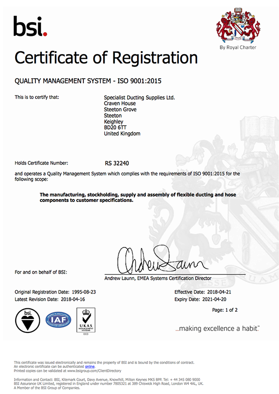 Specialist Ducting Supplies Ltd Are Delighted To Achieve ISO 9001:2015 Certification